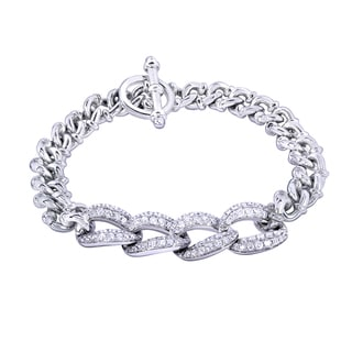 Annello by Kobelli 14k White Gold 2 1/2ct TDW Round-cut Diamond Men's Link Bracelet (G-H,