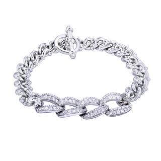 Annello by Kobelli 14k White Gold 2 1/2ct TDW Round-cut Diamond Men's Link Bracelet|https://ak1.ostkcdn.com/images/products/10029235/P17174741.jpg?impolicy=medium