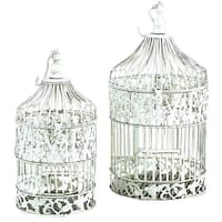 Maison Rouge Lamartine Metal Silver Decorative Bird Cage (Set of 2)