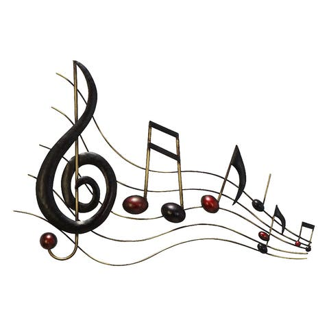 Metal Brown Decorative Music Notes Wall Decoration