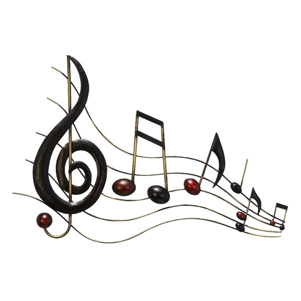 Shop Metal Brown Decorative Music Notes Wall Decoration ...