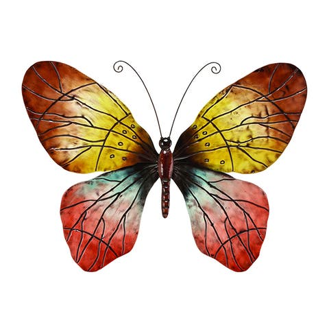 Copper Grove Iris Metal Red Decorative Butterfly Wall Decoration