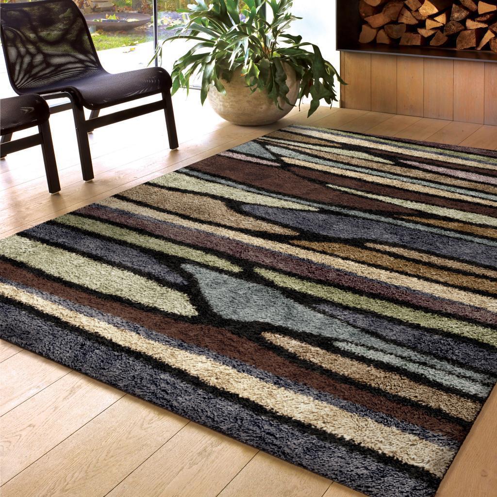 carolina weavers shag scene collection wharf multi shag area rug 5u00273 x 7