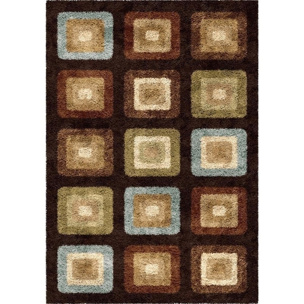 Carolina Weavers Era Collection Mirage Brown Shag Area Rug (5'3 x 7'6)