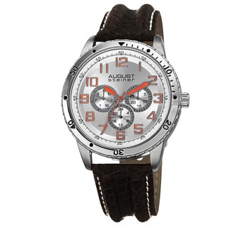 August Steiner Men's Quartz Multifunction Leather Silver-Tone Strap Watch