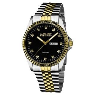 August Steiner Women's Diamond Markers Stainless Steel Two-Tone Bracelet Watch