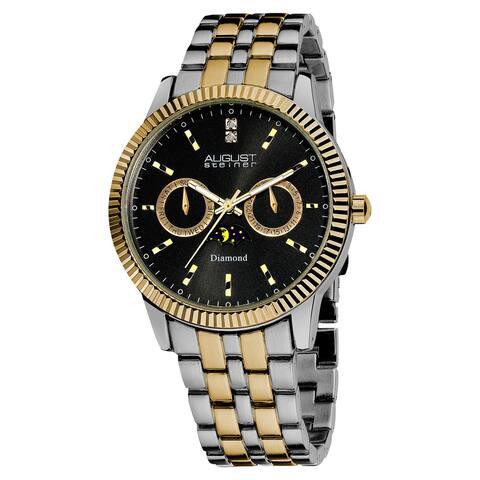 August Steiner Men's Swiss Quartz Multifunction Diamond Two-Tone Bracelet Watch