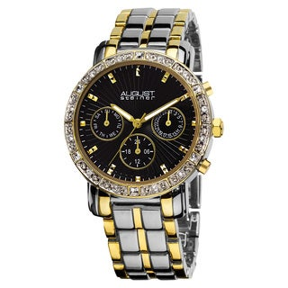 August Steiner Women's Swiss Quartz Multifunction Crystal-Accented Two-Tone Bracelet Watch