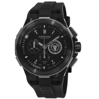 Concord Men's 'C2' Black Dial Black Rubber Strap Chronograph Swiss Automatic Watch