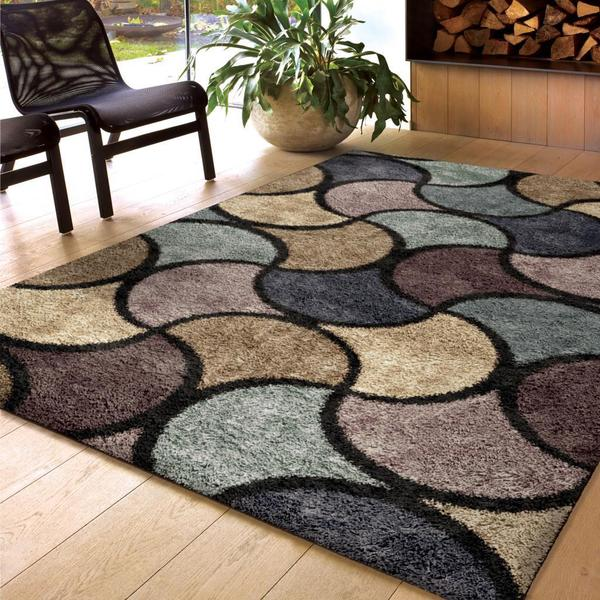 Carolina Weavers Comfy and Cozy Shag Scene Collection Virtual Reality Multi Shag Area Rug (7'10 x 10'10)