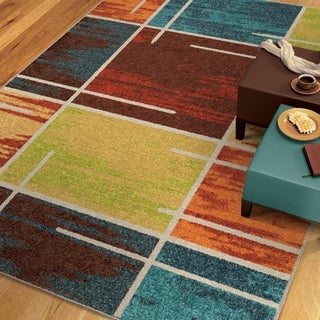 "Vibrance Collection Multiple Blocks Multi Area Rug (7'10"" x 10'10"")"