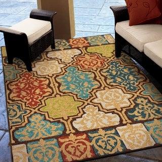 "Carolina Weavers Indoor/Outdoor Santa Barbara Collection Yancey Multi Area Rug - 5'2"" x 7'6"""