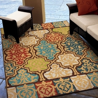 "Carolina Weavers Indoor/Outdoor Santa Barbara Collection Yancey Multi Area Rug - 5'2"" x 7'6"""