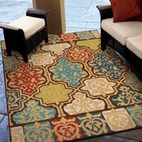 Carolina Weavers Indoor/Outdoor Santa Barbara Collection Yancey Multi Area Rug - 5'2 x 7'6