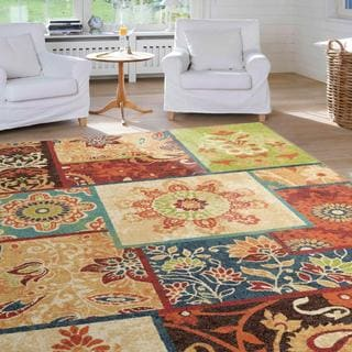 "Vibrance Collection Patchland Multi Area Rug (5'3"" x 7'6"")"