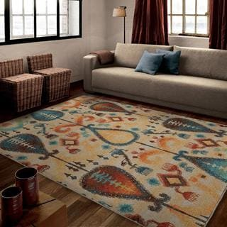 "Vibrance Collection Classical Realm White Area Rug (5'3"" x 7'6"")"