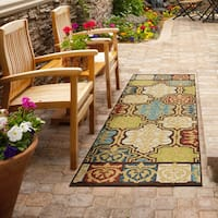 Carolina Weavers Indoor/ Outdoor Santa Barbara Collection Yancey Multi Runner Rug - 2'3 x 8'