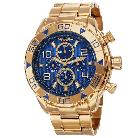 Akribos XXIV Men's Quartz Chronograph Etched-Pattern Dial Gold-Tone Strap Watch