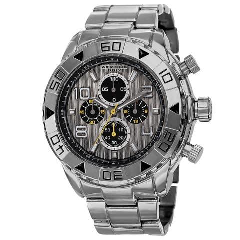 Akribos XXIV Men's Quartz Chronograph Etched-Pattern Dial Silver-Tone Strap Watch
