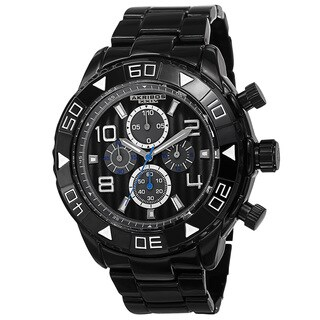 Akribos XXIV Men's Quartz Chronograph Etched-Pattern Dial Black Strap Watch