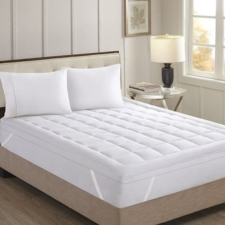 Baffle Stitched Hypo-allergenic Down Alternative Mattress Topper - White