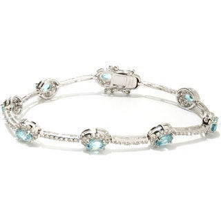Sterling Silver White and Blue Zircon Halo Line Bracelet
