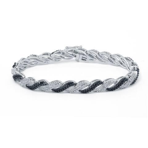 Divina Silvertone 1/2ct Black and White Diamond Fashion Bracelet