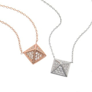 Eternally Haute Sterling Silver Pave Cubic Zirconia Pyramid Necklace