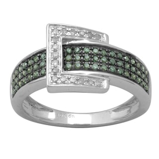 Divina 10k White Gold 1/2ct TDW Green and White Diamond Pave Buckle Ring (H-I, I2-I3)