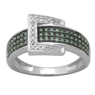 Divina 10k White Gold 1/2ct TDW Green and White Diamond Pave Buckle Ring