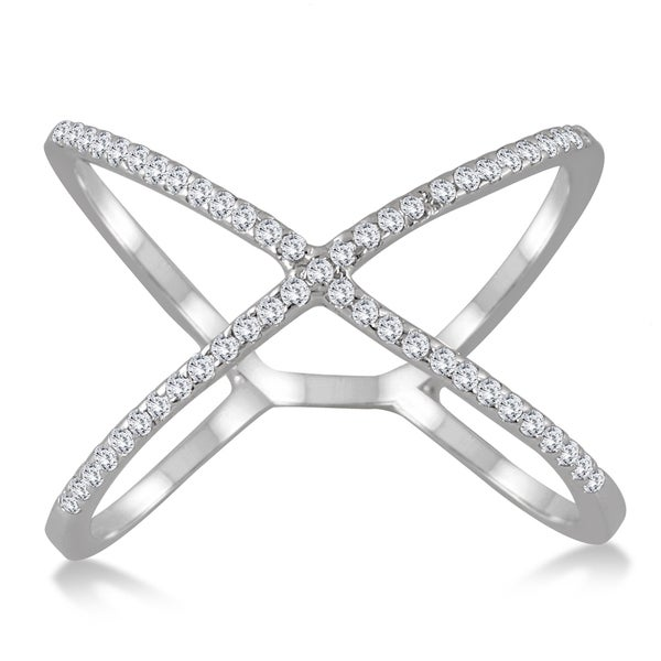 Marquee Jewels 10k White Gold 1 2CT Diamond Criss Cross X Ring