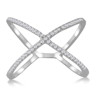 Marquee Jewels 10k White Gold 1/2CT Diamond Criss Cross X Ring (I-J, I1-I2)