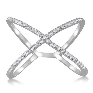 Marquee Jewels 10k White Gold 1/2CT Diamond Criss Cross X Ring