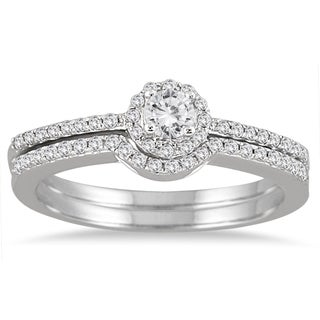 Marquee Jewels 10K White Gold 2/5CT Diamond Halo Bridal Set