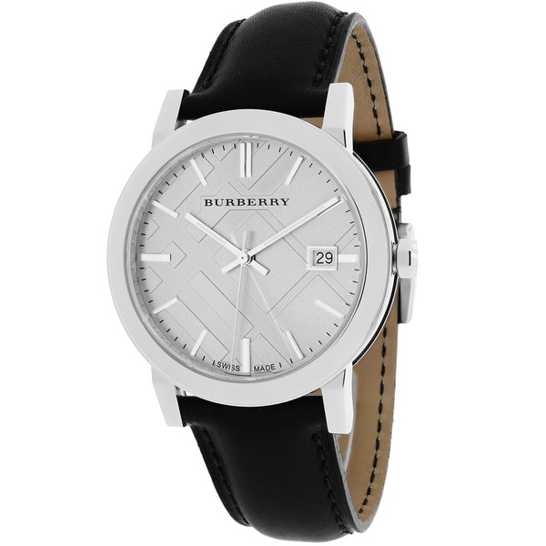 Shop Burberry Men s BU9008 The City Round Black Leather Strap Watch - Free  Shipping Today - Overstock - 10029543 6d208d2a74f