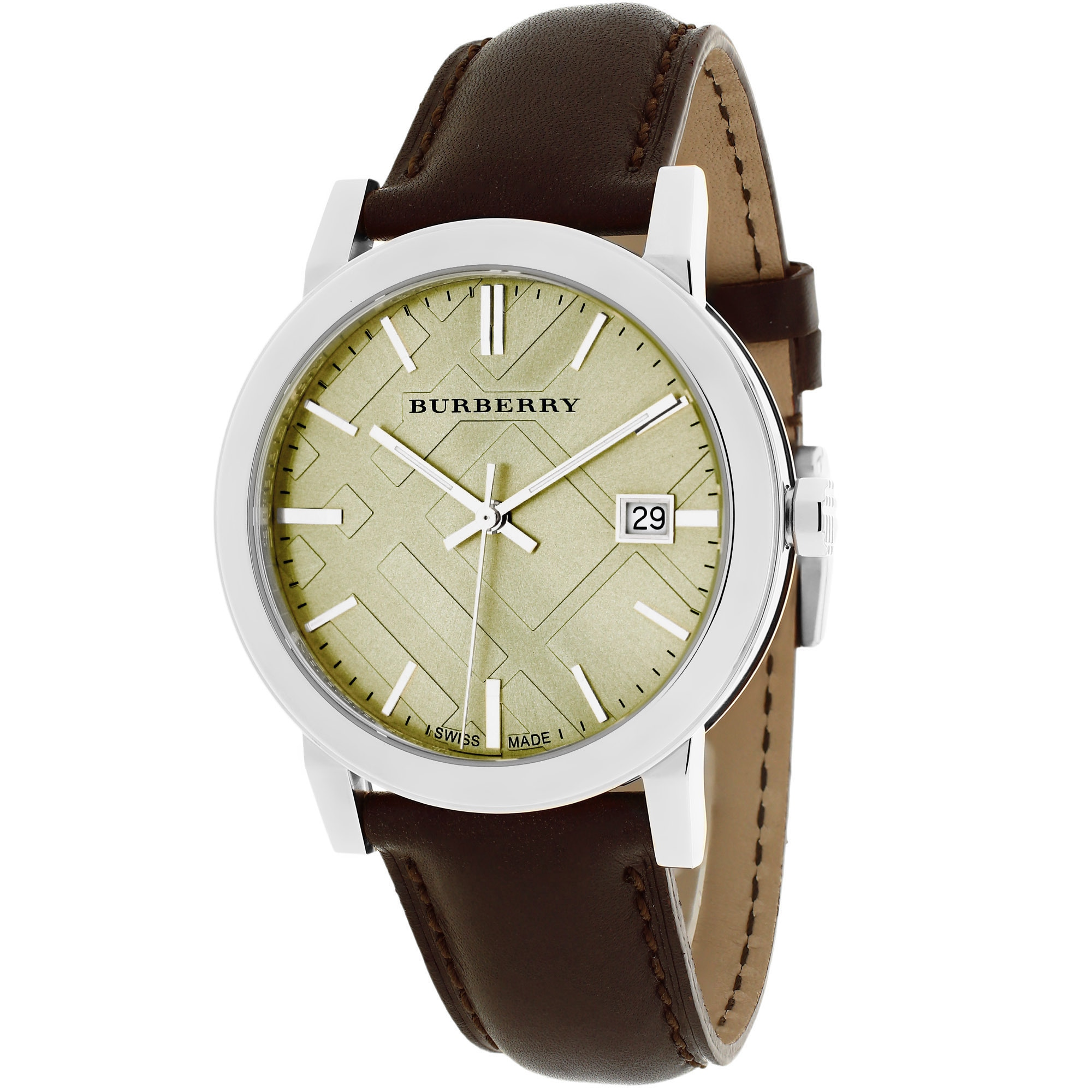 Burberrys Men's BU9011 The City Round Brown Leather Strap...