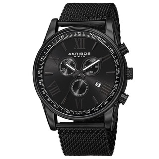 Akribos XXIV Men's Swiss Quartz Chronograph Stainless Steel Mesh Black Strap Watch