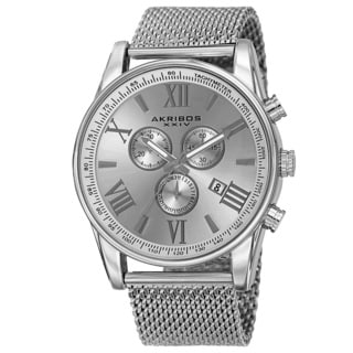 Akribos XXIV Men's Swiss Quartz Chronograph Stainless Steel Mesh Silver-Tone Strap Watch with FREE GIFT