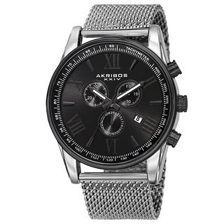 Akribos XXIV Men's Swiss Quartz Chronograph Stainless Steel Mesh Silver-Tone Strap Watch