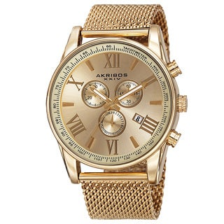 Akribos XXIV Men's Swiss Quartz Chronograph Stainless Steel Mesh Gold-Tone Strap Watch