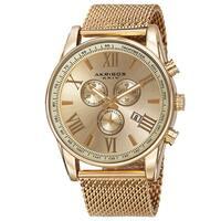 Akribos XXIV Men's Swiss Quartz Chronograph Stainless Steel Mesh Gold-Tone Strap Watch