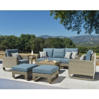 Corvus Ashena Hand-woven 9-piece Outdoor Wicker Set