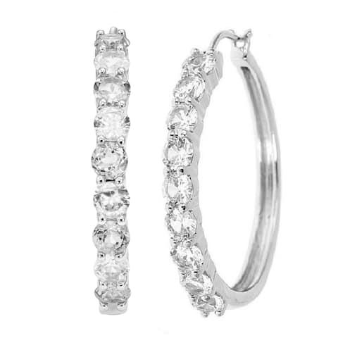 Divina Rodium over Brass White Sapphire Hoop Earrings