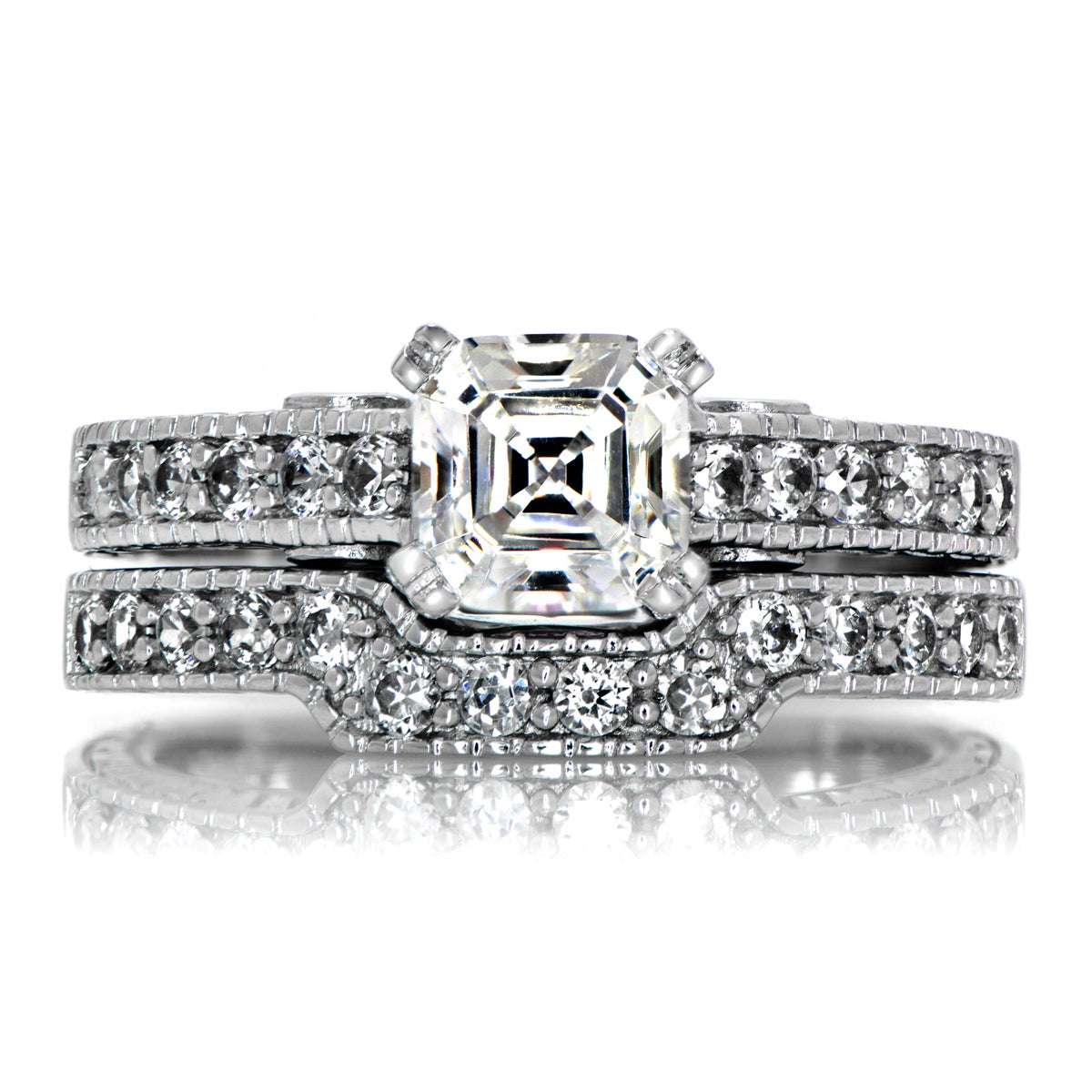 Sterling Silver Asscher Cut Cubic Zirconia Wedding Ring S...