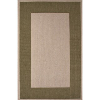 Indoor/ Outdoor Border Pattern Ivory/ Green Area Rug (7'11 x 10')
