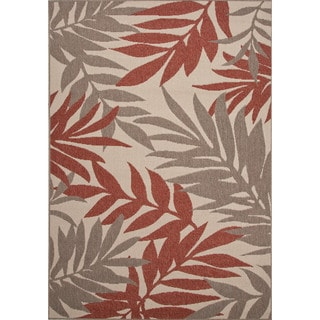 Jaipur Living Indoor-Outdoor Bloom Red/Taupe Floral Rug (2' x 3'7)