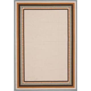Indoor/ Outdoor Border Pattern Brown/ Orange Area Rug (2' x 3'7)