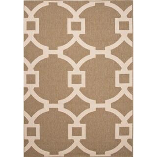 Indoor/ Outdoor Geometric Brown Rug (2' x 3'7)