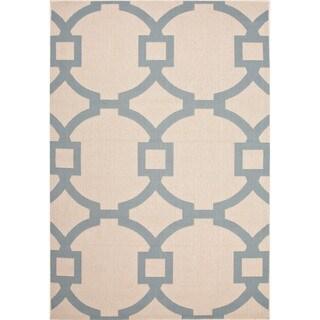 Jaipur Living Indoor-Outdoor Bloom Ivory/Blue Geometric Rug (2' x 3'7)