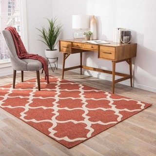 Indoor/ Outdoor Geometric Pattern Red/ Ivory Area Rug (2' x 3'7)